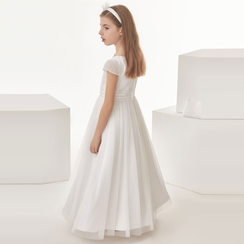 OYUNG Kommunion Kleid Weiß Tüll Ballkleid Juwel Hals Cap Sleeve ...