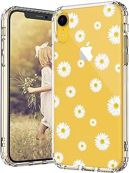 MOSNOVO Coque iPhone XR, Fleur de Marguerite Clair Design Motif Transparente Arrière avec TPU Bumper Gel Coque de Protection pour iPhone XR (Daisy)