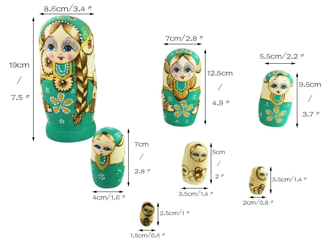 Winterworm Cute Little Girl With Big Braid Handmade Matryoshka Wishing Dolls Mother's Day Gifts Russian Nesting Dolls Set 7 Pieces Wooden Kids Gifts Toy Home Decoration Green by Winterworm (Image #5)