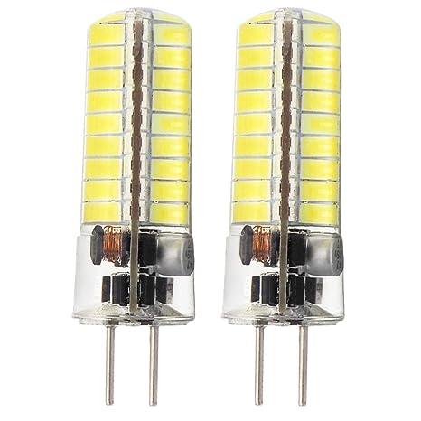 Glming 3.5 W G5.3 72 - 5730 SMD LED Bombilla, bi-pin DC12 V-24 V silicona cristal maíz bombilla Blanco frío, paquete de 2: Amazon.es: Iluminación