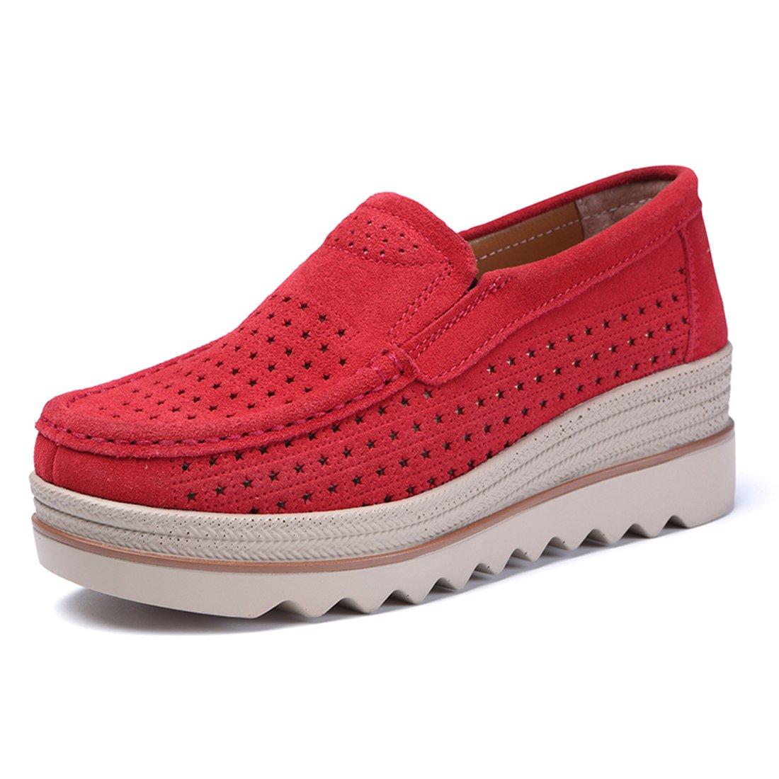 Z.SUO Mocassini Donna in Pelle Scamosciata Moda comode Loafers Scarpe da Guida Rosso.3