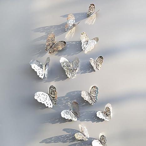 12 piezas de pegatinas de pared huecas 3D Nevera de mariposa para la decoración del hogar