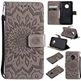 Motorola Moto G5 Plus Case Cover,SMYTU Premium Emboss Sunflower Flip Wallet Shell PU Leather Magnetic Cover Skin Wrist Strap Case Motorola Moto G5 Plus(Grey)