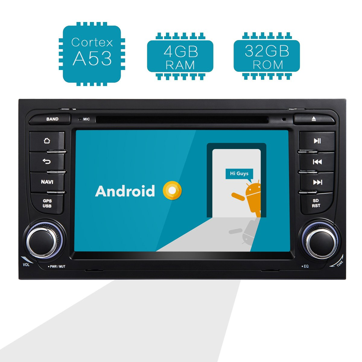 Amaseaudio Upgrade Android 8.0 For Audi A4 S4 RS4 Octa Core 4GB Ram 32GB Rom 2 Din Indash Touch Screen Car Stereo Radio DVD Player Auto GPS Navigation System Units