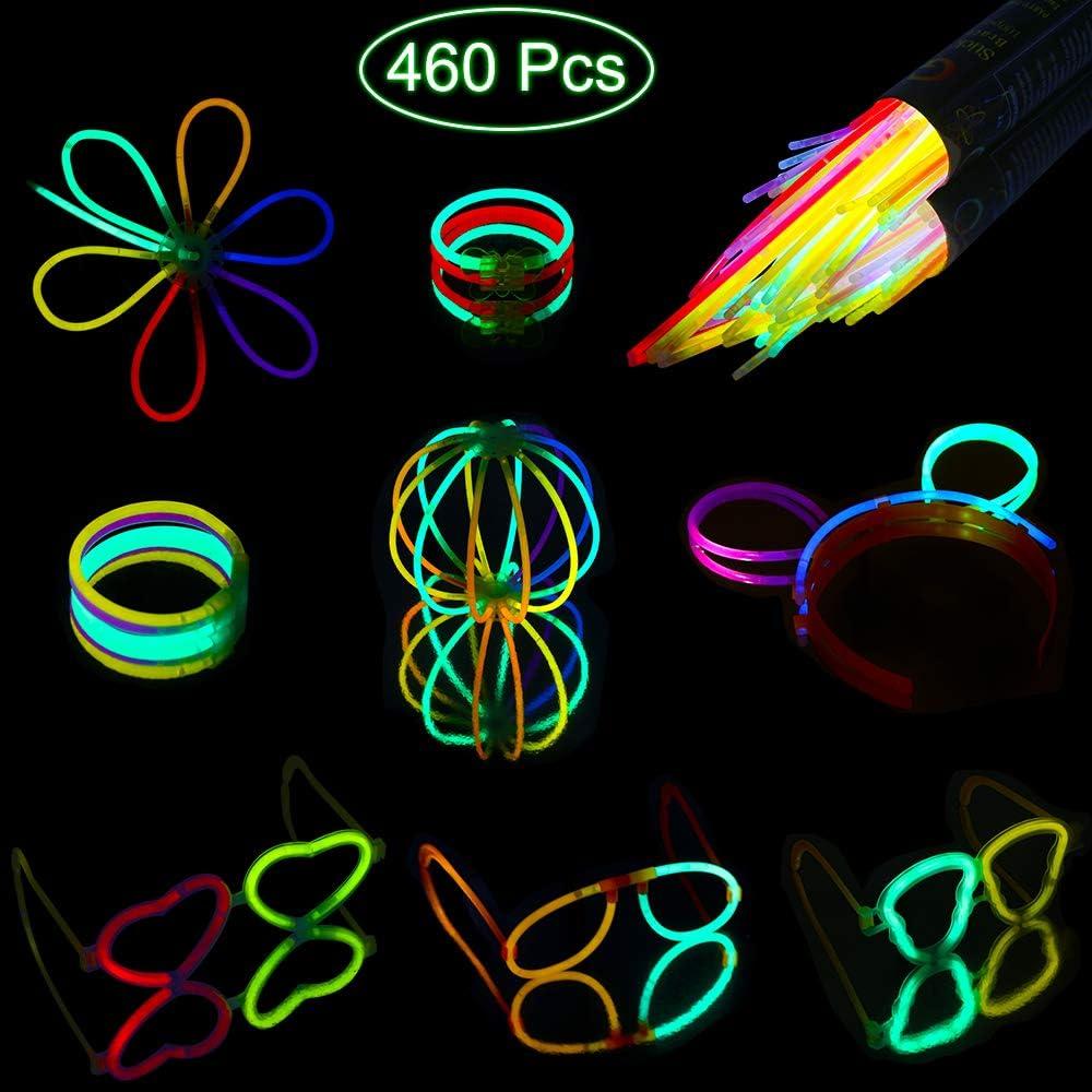 Mitening Pulseras Luminosas 200 pcs Varitas Luminosas para Fiestas 20 cm 7 Colores con Conectores, Kits para Crear Gafas, Pulseras, una Collares, Pendientes, una Bola Luminosa Premium y Mucho Más: Amazon.es: Juguetes