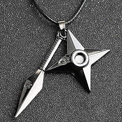 VAWAA Naruto Collar Kunai Shuriken Dart Arma Konoha Logo ...