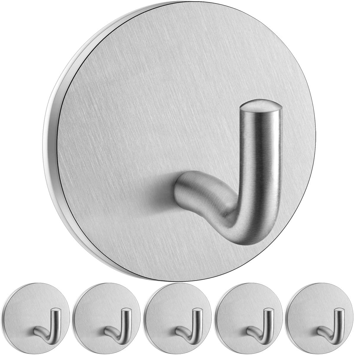 Adhesive Wall Hooks for Hanging Towel Coat,Stick on Hooks for Hanging Heavy Duty Robe Hooks for Bathroom Hooks for Wall,Sontiy Towel Hanger Brushed SUS304 Stainless Steel Hooks-6 Pack