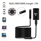 Wireless Endoscope, 8mm Digital Wifi USB Borescope Inspection Camera 2.0 Megapixels CMOS HD IP67 Waterproof Snake Camera with 8 Adjustable Led Light - 16.4ft 5M