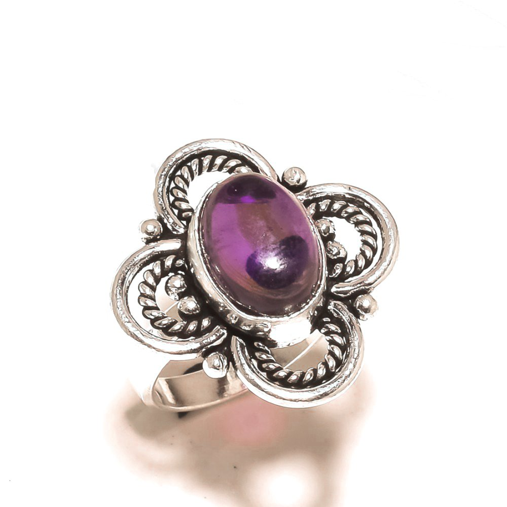 Gift Jewelry Handmade Jewelry Purple Amethyst Quartz Sterling Silver Overlay 9 Grams Ring Size 8 US