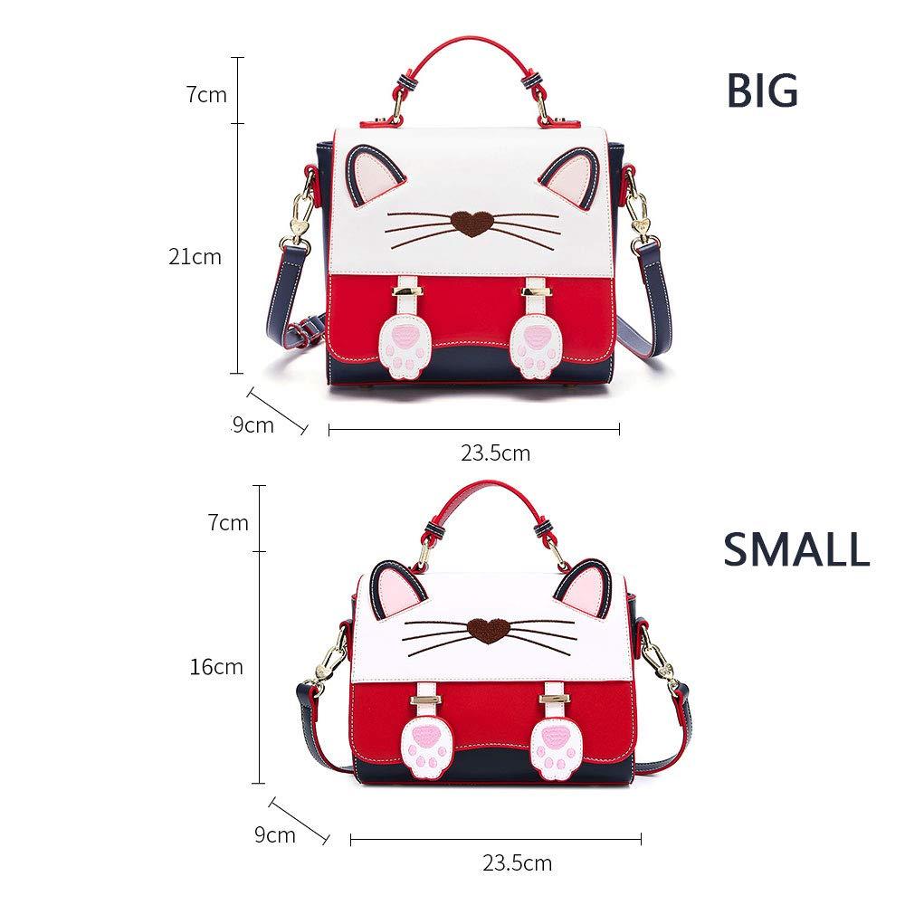 ZJDECR Ryggsäck dam höst och vinter katter axelväska koreansk version av den söta modehandväskor ryggsäck (färg: B – stor version) B - Big Version