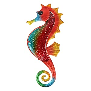 HONGLAND Metal Seahorse Wall Decor Outdoor Indoor Art Sculpture Hanging Decorations for Home Garden Bedroom
