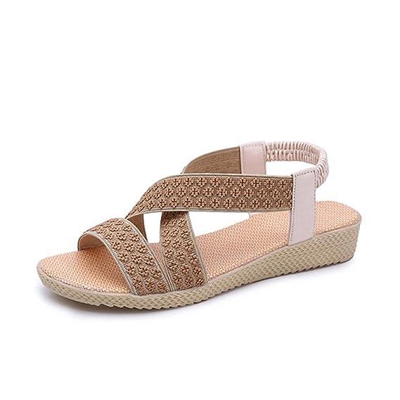 Damen Sommer Sandalen Beach Open Toe Flat Metall Schnalle Low Cut Schuhe, Weiß, 35