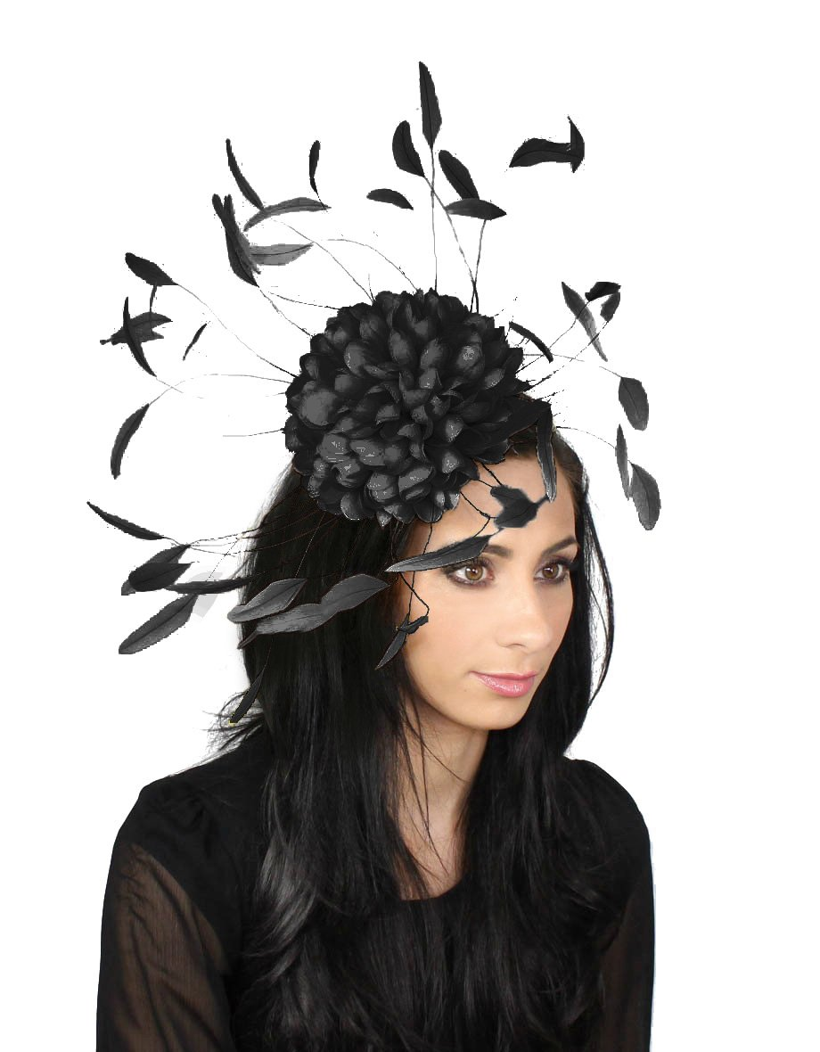 Margeaux Feather Ascot Kentucky Derby Fascinator Hat with Headband - Black