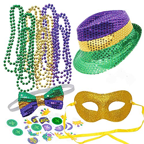 JOYIN Mardi Gras Accessory Set Party Favors with Beads Necklaces,