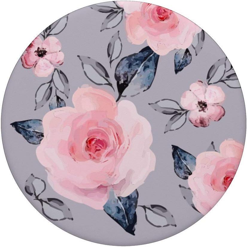 Pink Flowers Purple Floral and Gray Leaves Pattern PopSockets Agarre y Soporte para Tel/éfonos y Tabletas