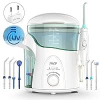 Hydropulseur Jet dentaire avec UV stérilisateur, THZY Professionnel Irrigateur Oral avec 7 Buses de Rechange Rotation 360°, Pression Réglable et 600ml Réservoir d'Eau