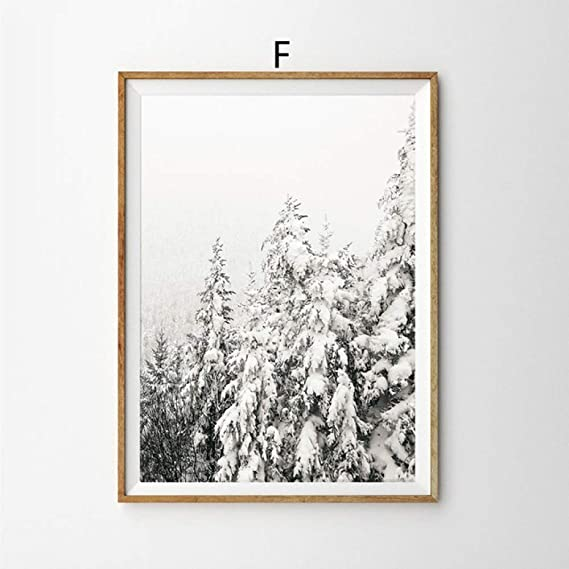 LiMengQi Ciervo en la Nieve Invierno árbol Cartel nórdico Pared Arte Lienzo Pintura Cuadros de Pared para Sala de Estar decoración del hogar decoración de Navidad (No Frame): Amazon.es: Hogar