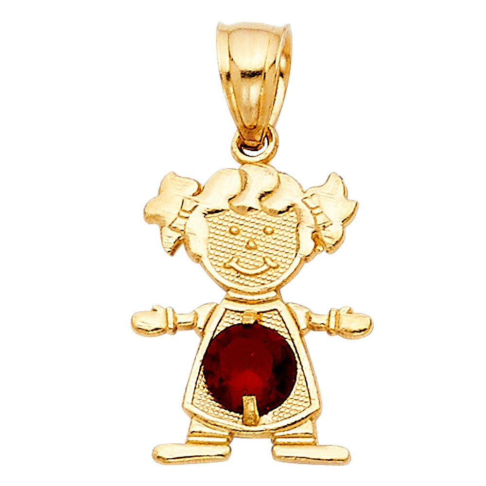 Million Charms 14k Yellow Gold Small//Mini Little Girl with Red CZ Stone for January Birthday 17mm x 12mm with 18 Rolo Chain