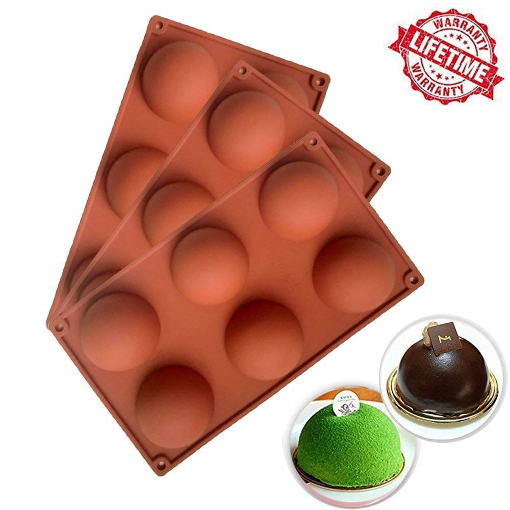 [3 Pack] Silicone Cake Mold, IC ICLOVER Food Grade 6 Cavities Hemisphere Dome Silicone Mold Half Sphere Bakeware for Making Delicate Chocolate Desserts Ice Cream Bombes Cakes Soap Resin Items