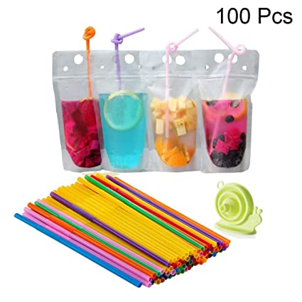 abfc2d30f535 Amazon.com: 100 Pcs Zipper Stand-up Plastic Clear Drink Pouches with ...