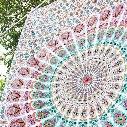 (GLOBUS CHOICE INC. Indian Hippie Bohemian Psychedelic Peacock Mandala Wall Hanging Bedding Tapestry Pink Brown Twin)