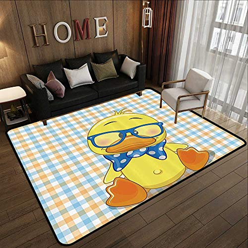 Indoor Outdoor Rugs,Cartoon Decor,Hipster Boho Baby Duck with Dotted Bow Cool Free Spirit Smart Geese Artsy Decor,Orange Yellow Blue 35
