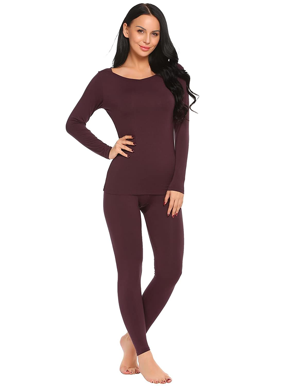 ADOME Women's Pajamas Long Sleeve Underwear Winter Base Layering Set