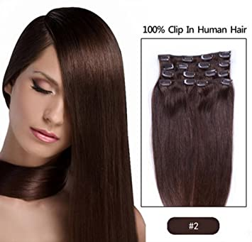 FANGYUANHAIR 20 quot  Inch 100g Straight Clip In Human Hair Extensions  Color  2 Dark Brown 08a8dee1a9