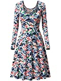 MSBASIC Womens Vintage Floral Print Long Sleeve Round Neck Casual Flared Midi Dress