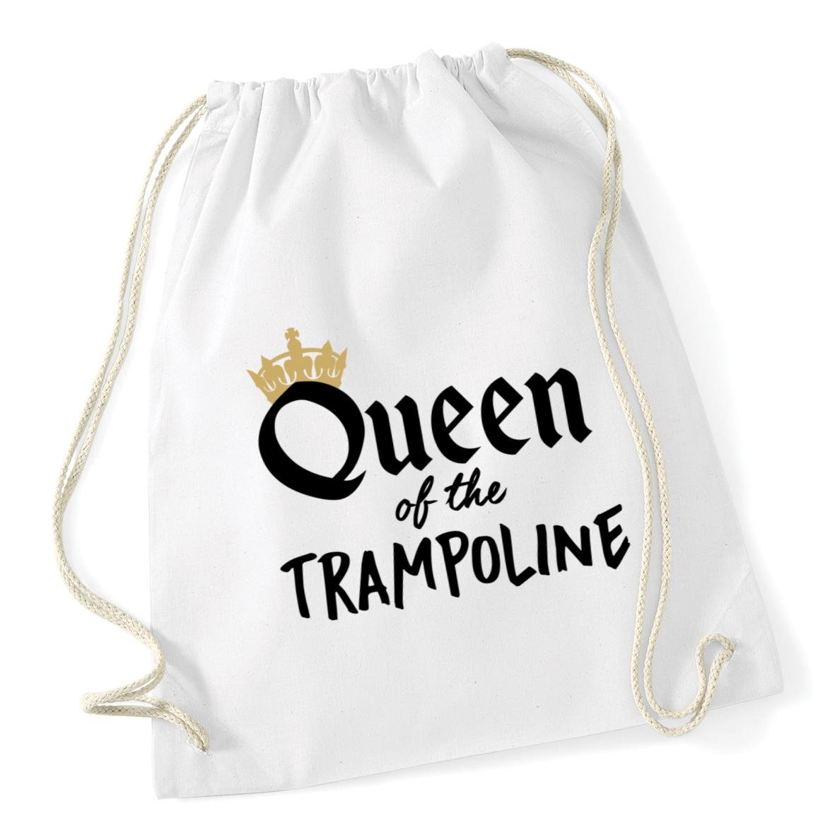 HippoWarehouse Queen of the Trampoline Trampolining Drawstring Cotton School Gym Kid Bag Sack 37cm x 46cm, 12 litres 21035-DSB-Black