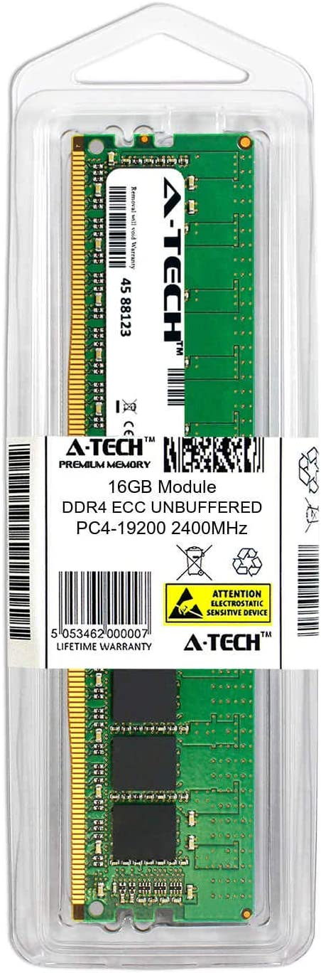 862690-091-ATC Single Server Memory Ram Stick A-Tech 16GB Replacement for HP 862690-091 DDR4 2400MHz PC4-19200 ECC Unbuffered UDIMM 2rx8 1.2v