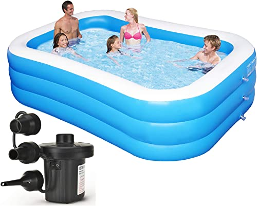 Inflatable Swimming Pool Family Full-Sized Inflatable Pools 118″ x 72″ x 22″ Blow Up Rectangular Large Above Ground Pool Floats