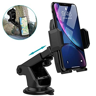 "Car Phone Mount Holder, Quntis Universal Car Cell Phone Holder for Dashboard Windshield with Sticky Pad, Easy Button Release, Extendable Arm Fit for iPhone Samsung Galaxy Google LG (2.36""-3.74"" Width)"