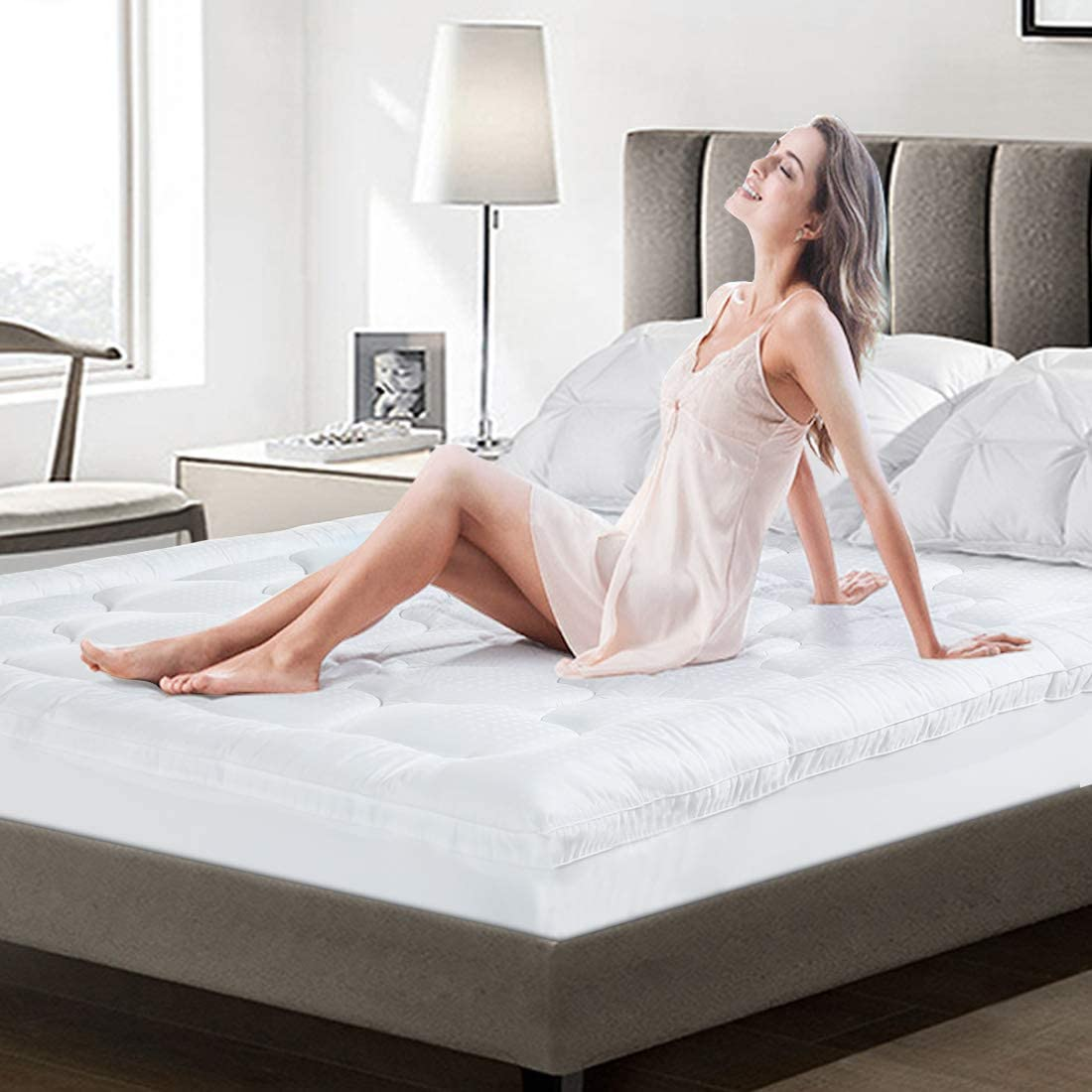 COHOME Full Size Mattress Topper Extra Thick Cooling Mattress Pad 400TC Cotton Top Plush Pillow Top Mattress Cover with 8-21 Inch Deep Pocket