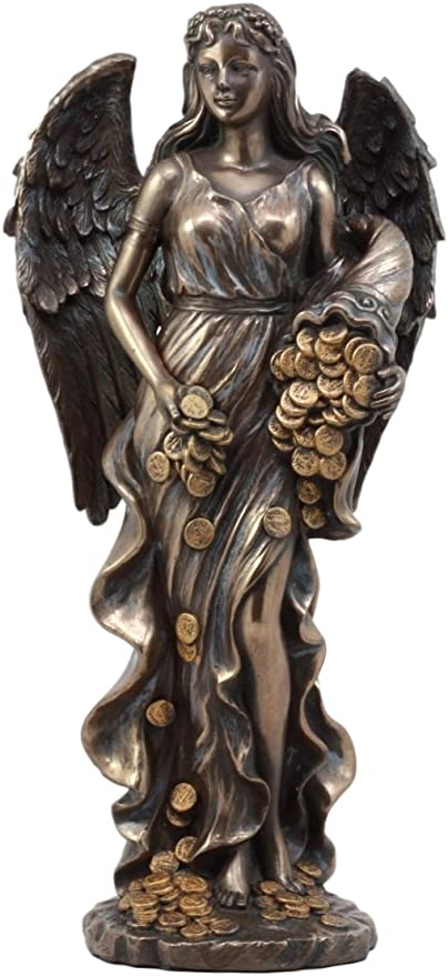 Roman Goddess Prosperity Lady Luck Fortuna 100/% Real Bronze Statue Sculpture Art