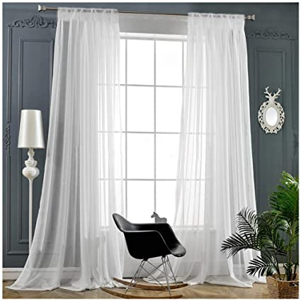 Amazon Com Rod Pocket Sheer Curtains Window Voile Treatment Panels