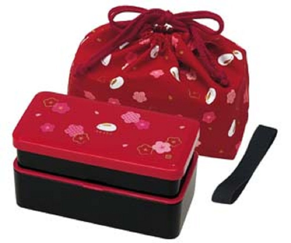 Japanese Traditional Rabbit Blossom Bento Box Set - Square 2 Tier Bento Box, Rice Ball Press, Bento Bag (Red) by Skater