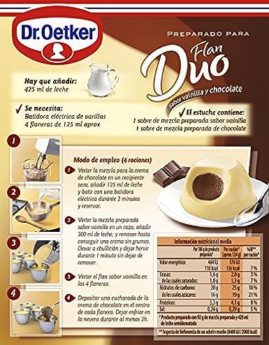 DR. OETKER preparado para flan duo vainilla y chocolate caja 92 gr: Amazon.es: Alimentación y bebidas