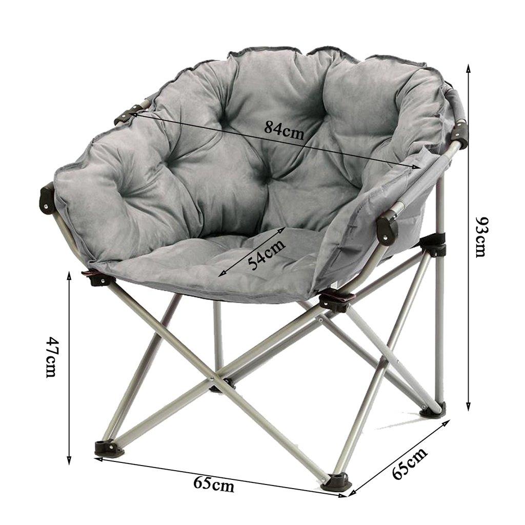 GYH Silla Plegable Moon Chair Grey -Creative Lazy Suede ...