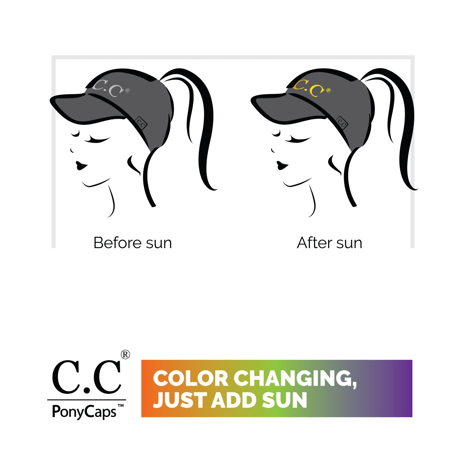 C.C Exclusives Pony Cap with 3D Embroidered Color Changing Trucker Cap (BT-10) (Black, Hello Sunshine) by C.C (Image #5)