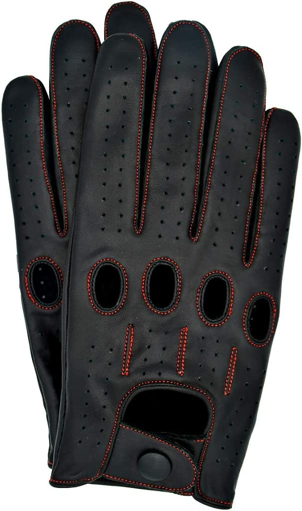Riparo Motorsports Echte Lederhandschuhe f/ür M/änner Gro/ß Schwarz Roter Faden