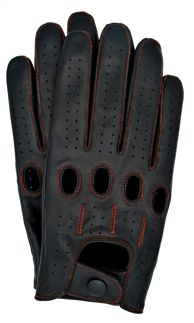 Riparo Women's Unlined Leather Driving and Riding Gloves (6.5, Black/Red Thread)