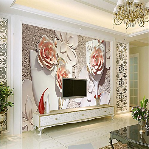 Lwcx Photo Wallpaper Blossoming Wallpaper 3D Stereo Anaglyph Space 3D Wallpaper White Frosted Glass Wall Lager Wall Paper 150X105CM (Rose Lager)