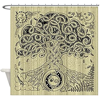 CafePress Celtic Tree Of Life Ink Shower Curtain Decorative Fabric 69x70