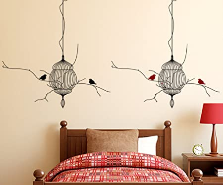 Decals Design 'Hanging Cages with Birds' Wall Sticker (PVC Vinyl, 70 cm x 50 cm), Multicolour Wall Stickers at amazon