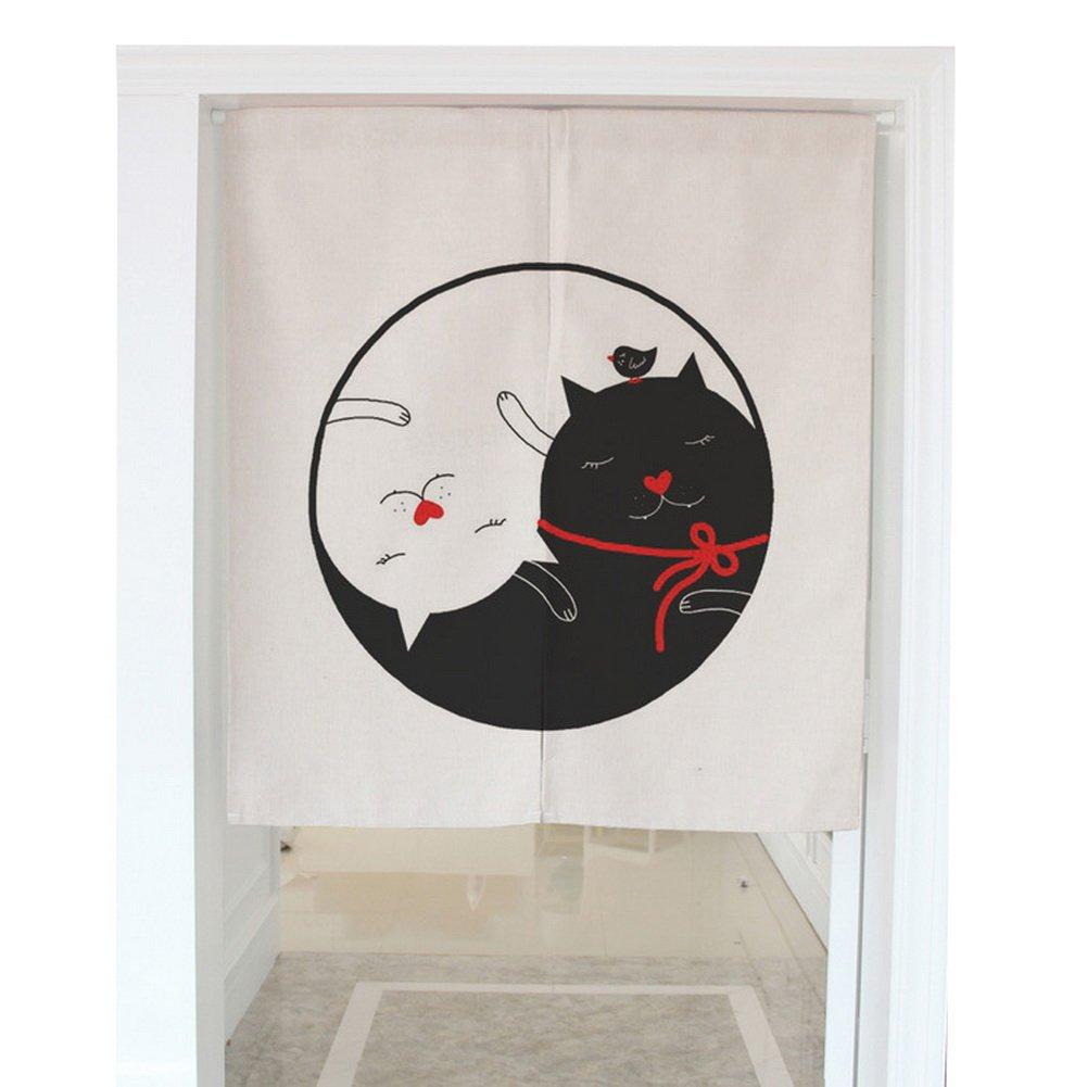 Love Cats Pattern Door Curtain Japanese Noren Curtain Bedroom Curtain Doorway Curtain (31.5''x35.4'')