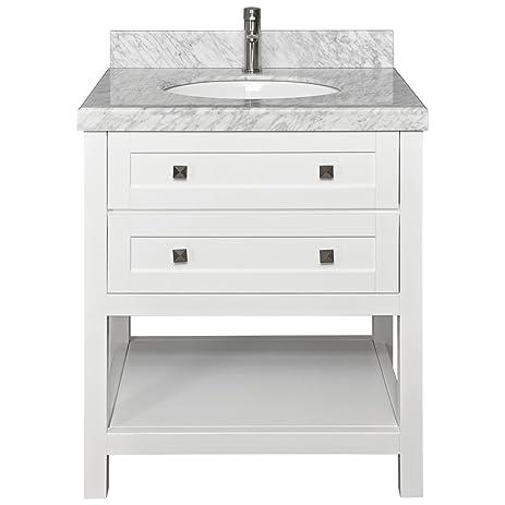 Miami 30 Inch Bathroom Vanity Cabinet With Top Backsplash Oval Sink White  Finish