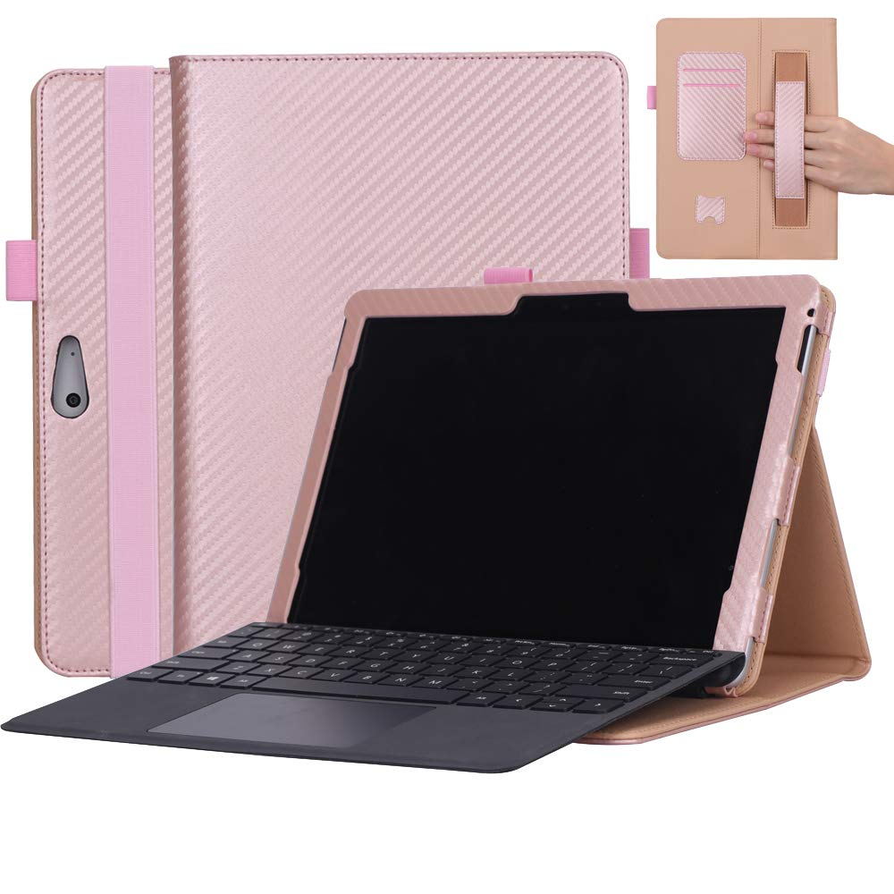 Microsoft Surface Goケース 高級本革ケース スタンド付き フリップカバー ハンドメイド Microsoft Surface Go用 ローズゴールド   B07LCGZP3H