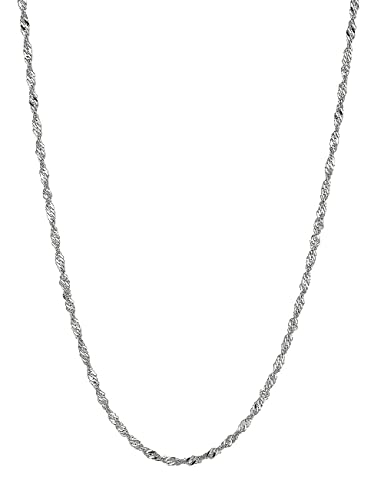 0dc2b4701f3f6 Amazon.com  Ritastephens 14k Solid White Gold Singapore Rope Chain Necklace  1.5 Mm 16 Inches  Jewelry