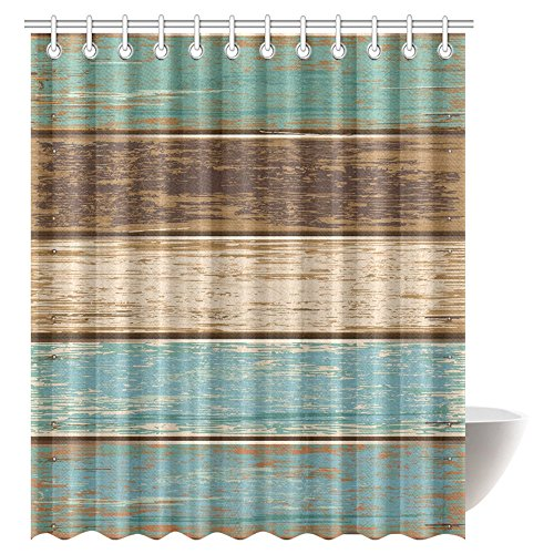 InterestPrint Antique Old Planks American Style Western Rustic Wooden Fabric Bathroom Shower Curtain 72 X 84 Inches Extra Long